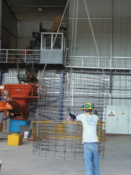 reinforcement cage held by crane in Costa Rica