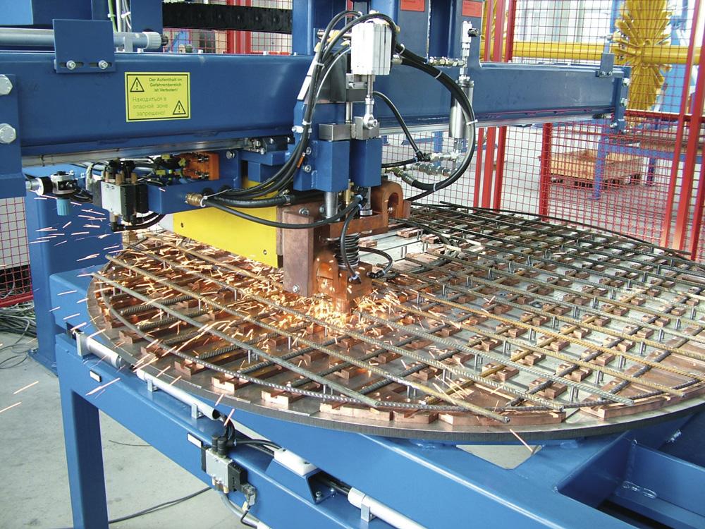 Schweißanlage einer Sondermaschine von mbk für runde Stahlmatten